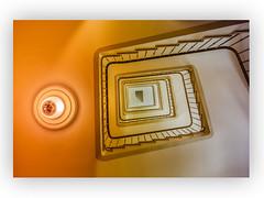 go upstairs (SonjaS.) Tags: teppenhaus oben goupstairs stair münchen deutschland stairwell architektur lines curves 1635mm weitwinkel treppe licht lampe
