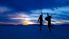 White Sands, NM, USA (rociomcoss) Tags: white sands new mexico newmexico newmexicotrue nm gypsum monument sunset sand jump couple date silhouette southwest