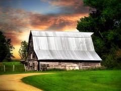 Old barn 7 (mrbillt6) Tags: landscape rural prairie barn road grass trees sky outdoors country countryside northdakota