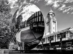 Sky Mirror, Nottingham (RichardK2018) Tags: blancoynegro byn convex rear anishkapoor theatre playhouse nottingham blackandwhite hardcontrast prolens 714mmf28 superwideangle zuiko ipad snapseededit olympusem1mk2 monochrome skymirror