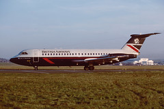G-BBMG BAC1-11 408EF EGPK 1988 (MarkP51) Tags: gbbmg bac111 408ef britishairways ba baw prestwick airport pik egpk scotland airliner aircraft airplane plane image markp51 nikon kodachrome slide film scan vintage aviationphotography