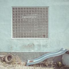 no sliding here (*altglas*) Tags: glass blocks bricks glasbausteine tristesse blue blau slide rutsche decay verfall