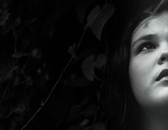 The Secret Garden (_Lionel_08) Tags: black white blackandwhite monochrome girl portrait vines leaves young beautiful teen dark mystery canon rebelt5