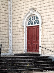 ... (Jean S..) Tags: red yellow village rural door stairway stairs church