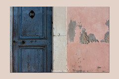 blue door and pink wall (stone, wood, paint, time) (sandrorotonaria) Tags: door pink blue gaeta