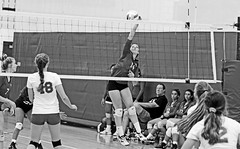 IMG_2489 (SJH Foto) Tags: girls high school volleyball mt mount olive varsity teens team net battle spike block action shot jump midair contact impact black white blackandwhite bw monocolour pp photoshop postprocessing editing colour rendering contrast boost