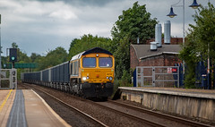 GBRf Class 66/7 no 66716 at Mansfield Station on the Robin Hood Line with the Wellingborough to Rylestone empties (kevaruka) Tags: mansfieldwoodhousestation mansfieldstation nottinghamshire gbrf class66 66719 september 911 summer 2018 clouds cloudy cloudyday cloud yellow blue green england flickr frontpage thephotographyblog telephoto telephototrains robinhoodline canon canoneos5dmk3 canon5dmk3 canon70200f28ismk2 5d3 5diii 5d 5dmk3 colour colours color colors trains train locomotive composition dof depthoffield f28 66716