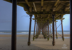 snap of saltburn pier  yorkshire taken with a bog standard kit lens (kapper22) Tags: pier saltburn yorkshire outdoor beach water sea tide blue wooden metal seaweed waves sunny