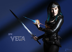 Sucker Punched 4 - Vega (3) (FightGuy Photography) Tags: sword weapon kathleen catsuit suckerpunched badass warriorwoman photoshop bluehair fightguyphotography corset armor
