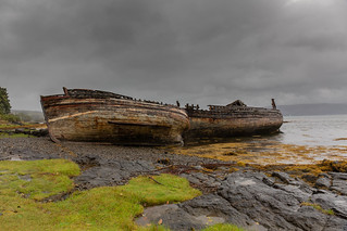Wrecked boats at Salen