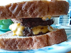 Cheeseburger On Bread. (dccradio) Tags: lumberton nc northcarolina robesoncounty indoor indoors inside cheeseburger doublecheeseburger sandwich bread meltedcheese burger meat food eat lunch dinner supper meal samsung galaxy smj727v j7v cellphone cellphonepicture