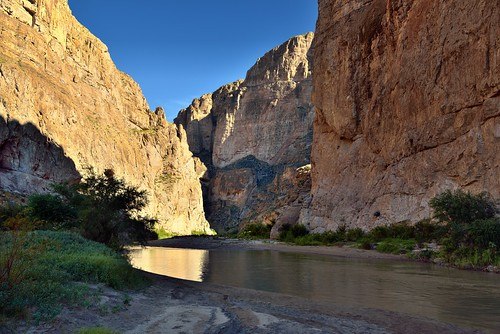 Towering Walls as a Backdrop for a Border with Mexico and the Rio Grande