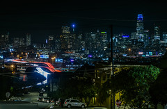 overlook from the downtown continuation school (pbo31) Tags: bayarea california nikon d810 color summer 2018 boury pbo31 sanfrancisco city urban night black dark lightstream motion traffic roadway over skyline salesforce 101 highway 80 potrerohill