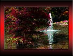 El parque del Retiro (seguicollar) Tags: imagencreativa photomanipulación art arte artecreativo artedigital virginiaseguí estanque agua surtidor árbol tree rojo red parque jardín elretiro