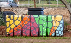 Long Coloured Bin (mikecogh) Tags: northadelaide bin long plastic coloured painted decorated colored
