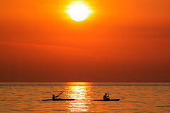 Paddling to sunset (vovask) Tags: goldenhour goldenhourphotography contrejour backlit silhouette sunset greece greeksunset sun sea beach beachlife coastlife summer greeksummer paddling seakayaking watersports actionsports eastside eastcoast acheron acherontas river epirus sky water coast canon eos500d canoe