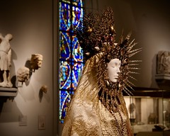 Woman In Golden Monstrance (Anne Marie Clarke) Tags: costume fashion heavenlybodiesfashionandthecatholicimagination golden monstrance avantgarde designer museum metropolitanmuseumofart couture