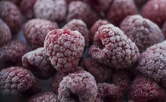 Raspberries ... (Julie Greg) Tags: raspberries colours ice fruit fruits details canon