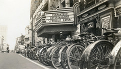 Cinema Promotions, 1930s (jericl cat) Tags: theatre vintage 1930s photo historic movie cinema promotion marketing advertising ads northcarolina marquee bulb neon national biscuiteater mush fein jewelers bicycle rack bicycles