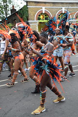 DSC_8276 Notting Hill Caribbean Carnival London Exotic Colourful Blue and Orange Costume with Feather Headdress Girls Dancing Showgirl Performers Aug 27 2018 Stunning Ladies (photographer695) Tags: notting hill caribbean carnival london exotic colourful costume girls dancing showgirl performers aug 27 2018 stunning ladies blue orange with feather headdress