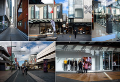 Postcard from Christchurch.. A Day in the City (Jocey K) Tags: newzealand nikond750 christchurch architecture buildings collage postcard people flags allyeways shopdisplay shadows cbd street sky