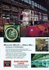 """""""Burlington Know How"""" ad from June 1963 Trains (jsmatlak) Tags: railroad train locomotive burlington advertisement"""