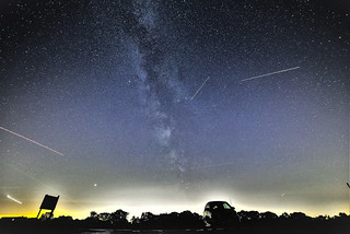 The milkyway , sunset and fireworks