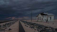 """A heavy shower of 56 mm came down in and around Lüderitz on May 17th"" (Nanooki ʕ•́ᴥ•̀ʔっ) Tags: africa garub namibia railwaystation ©suelambertlrpscpagb karasregion na abandoned storm thunder lightening railroad old rain rainstorm"