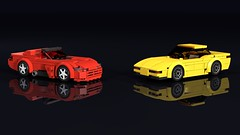 Viper vs. Vette (THIRMO) Tags: thirmo vonerics lego moc 6wide cityscale dodge viper rt10 chevrolet c5 corvette z06 headsup ldraw povray