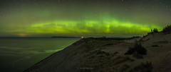Dance 'til Dawn (Aaron Springer) Tags: michigan northernmichigan lakemichigan thegreatlakes sleepingbeardunesnationallakeshore piercestockingscenicdrive auroraborealis northernlights bigdipper stars nightsky nightphotography outdoor nature panoramiclandscape
