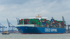 Cosco England (frisiabonn) Tags: vehicle ship water england uk britain marine vessel river sea shore waterfront maritime boat outdoor felixstowe shotley harwich orwell stour cosco large container carrier cargo port harbour docks tug tugboat svitzer sky