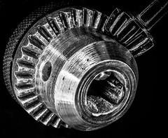 Hiya chuck (grbush) Tags: cogwheel cog gears chuck macro macromonday macromondays closeup bw blackwhite monochrome contrast lowkey tools sonyilce7 tamronaf90f28disp
