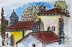 Sta.Eulalia de Abamia. Corao (Asturias) (Marisa Ortún) Tags: asturias corao staeulaliaabamia iglesia arquitectura románico inkwatercolor sketch usk