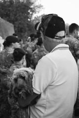 Doggert (OlivierVanIsle) Tags: westflanders westvlaanderen vlaanderen belgium belgian belgië belgique photographiebelgië menenpoort meningate monochrome blackandwhite monochromatic black dark nikon nikondigital nikond3300 d3300 dog dogs man person people ypres ieper