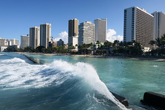 Waikiki scene (BarryFackler) Tags: waikiki oahu hawaii hawaiianislands sandwichislands waikikibeach pacificocean honolulu polynesia beach sky palmtrees 2018 pacific sand shore coast palms sea ocean barryfackler barronfackler island buildings hotels highrises condominiums condos city scene clouds wave surf foam breakwater saltwater skyline cityscape swimmers coastline shoreline seashore seaside kuhiobeachpark water park