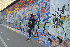 Berlin Wall (amy.hostetter) Tags: east side gallery german germany berlin wall color art graffiti person girl stand colorful blue
