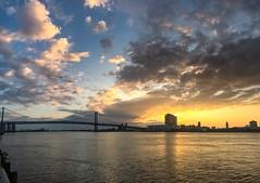 Penns Landing Sunrise (dweible1109) Tags: cellphonephoto iphone water clouds sky skyline skyscape magichour sunrise delawareriver pennsylvania philadelphia pennslanding