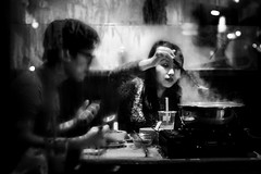 Abstraction (markfly1) Tags: chinatown soho london street candid abstract image high contrast black white people eating restaurant steamy windows water droplets condensation mist cold night air after dark nikon d750