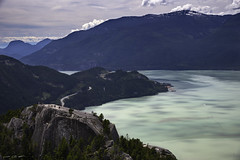 Stawamus Chief (courtney_meier) Tags: britishcolumbia canada firstpeak howesound landscape provincialpark seatosky secondpeak stawamuschief thechief afternoon cloud cloudshadow clouds fjord granite mountain water