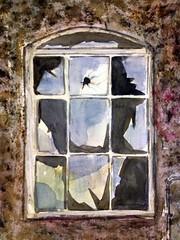 Quello che vedi non è mai quello che e'..... (l*aura**) Tags: finestra window vetro glass abbandono missing watercolor acquerello laura