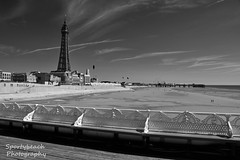 Blackpool seafront (Sportybeach Photography (Jonnywalker)) Tags: blackpool lancashire seafront seaside coast sea sky pier bluesky northwest sand promenade seawall beach holiday shore centralpier blackpooltower tower northpier mono monochrome