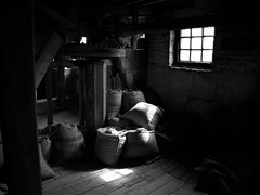 Houghton Mill: Interior 2 (Benedict Todd) Tags: mill olympus watermill epson tmax400 homedeveloped film id11 om2n 4490 analogue river zuiko cambridgeshire nationaltrust industrial tmy2 bw ilford houghtonmill kodak