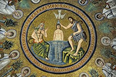 In the Waters of Zion - dome mosaic, Arian Baptistry, c600, Ravenna, Italy. (edk7) Tags: nikond300 nikonnikkor18200mm13556gedifafsvrdx edk7 2008 italy italia emiliaromagna ravenna arianbaptistry battisterodegliariani theodericthegreatc600 domemosaic orthodoxchristianstyle lateromanempire lateantiquity art artwork architecture building oldstructure ancient unescoworldheritagesite halo palm crown wreath tunic toga jewel plant gold gilt holyghostriverjordanjesusjohnthebaptistapostlesevangelists museum mosaic