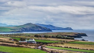 View of dingle peninsula from famine cottages