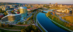 Beautiful sunset in Vilnius (Zygios) Tags: vilnius europe capital city river architecture building buildingcomplex sky reflection drone dronefly dronephotography hdr hdrpanorama autumn road trees