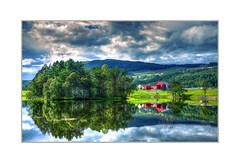 Norwegian reflections (Fr@nk ) Tags: img9376 mrtungsten62 norway norge travel frnk europ12 recent rec0309 canon6d ektachrome colortone color colors frame tau rogaland rv camper 2017 lake pond reflections trees lush green landscape house architecture meadow fish fishing poisson