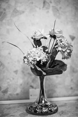 Vase & Flowers (aljones27) Tags: vase portdecanter flowers artificial arrangement stilllife monochrome bw blackandwhite sony a7iii sigma50mmart