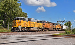 """Southbound Manifest in Birmingham, MO (""""Righteous"""" Grant G.) Tags: up union pacific railroad railway locomotive train trains south southbound manifest freight emd power ge engine kansas city missouri"""