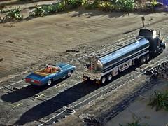 Down the rd  9/16/2018 (THE RANGE PRODUCTIONS) Tags: johnnylightning matchbox concor convertible ford mercury kenwortht600 tanker 18wheeler 164scale 187scale hoscaletruck hoscalefigures semi bigrig tractortrailer diecast diecastdioramas dioramas model modular toy