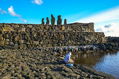 On the shore... / На берегу... (Vladimir Zhdanov) Tags: travel chile polynesia easterisland rapanui ocean water wave moai ruins sculpture ancient stone sky cloud ahutahai hangaroa people wall